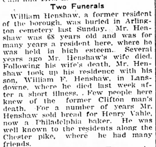William Henshaw, Mary Henshaw Kelley's father? - Two Funerals William Henshaw. a former resident...