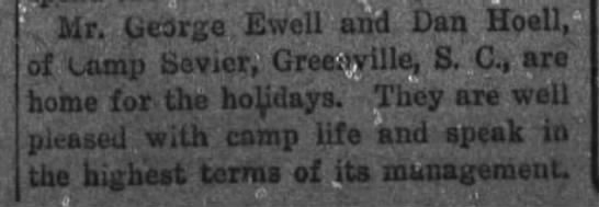 Daniel Hoell home for the holidays from Camp Sevier, SC 1917 - Ilr. (jcare Ewell and Dan Hoell, of camp...