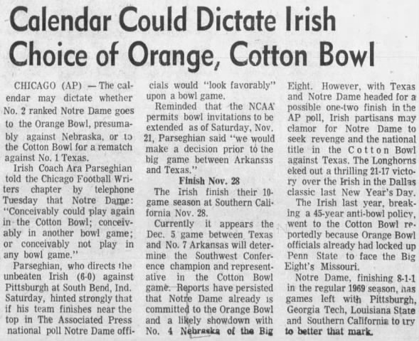 1970.11.03 Ara Parseghian on bowl options