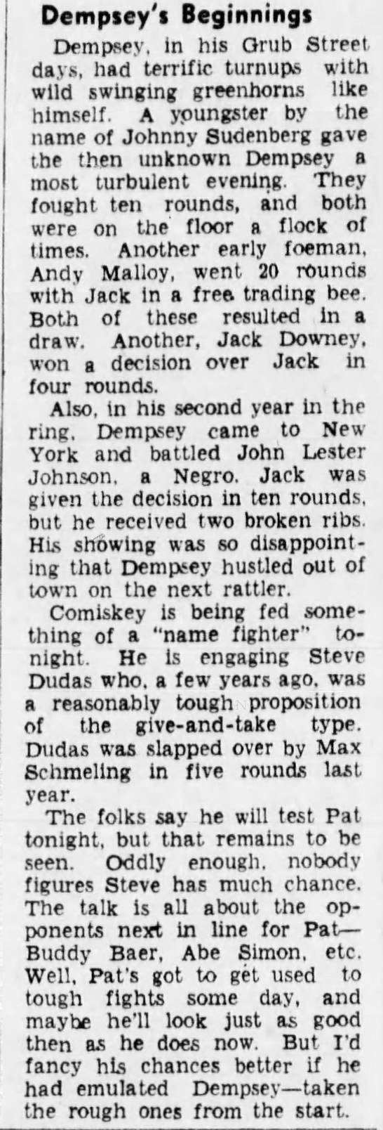 Dempsey's Beginnings - Dempsey'i Beginnings Dempsey, in his Orub...