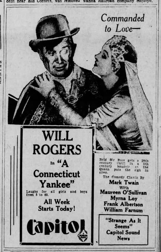 "Will Rogers ""A Connecticut Yankee"" 1931 - accident near was Lackawanna company Commanded..."