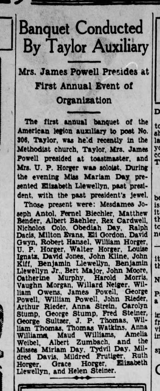 Arthur Rieder, Scranton Republican, 30 Sept 1933 - Banquet Conducted By Taylor Auxiliary Mrs....