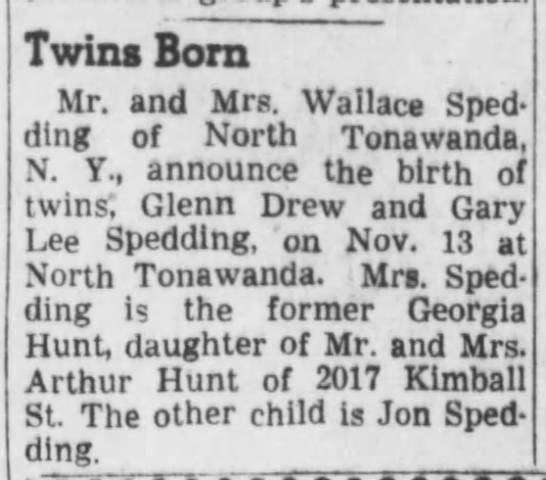 Birth Announce- Twins Gary n Glenn Spedding - Twins Born Mr. and Mrs. Wallace Sped- Sped-...
