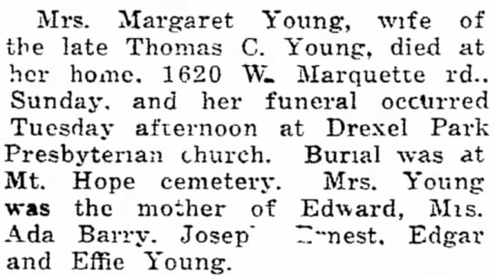 margaret brown young death* - Mrs. Margaret Young, wife of the late Thomas C....
