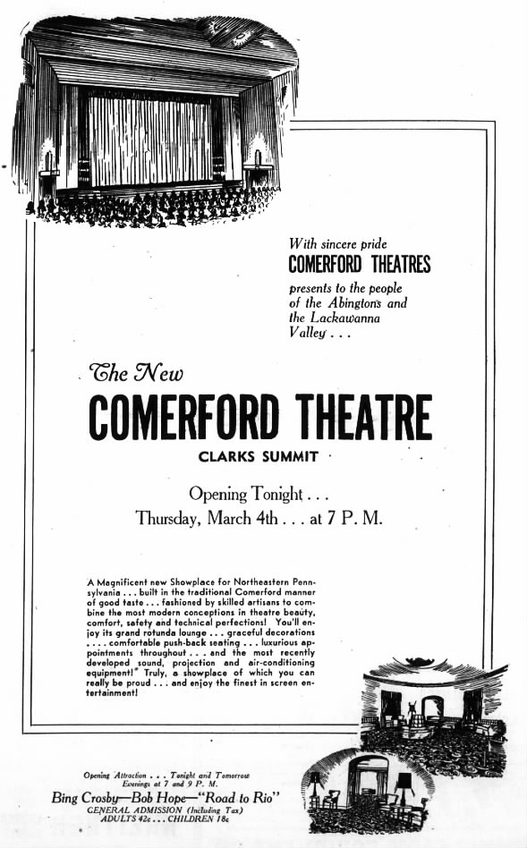Comerford Theatre in Clarks Summit opening