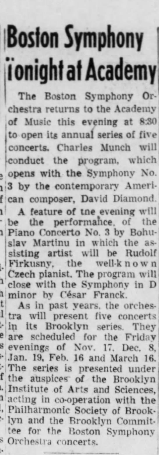 Boston symphony tonight at Academy 17/11/1950 - Boston Symphony i'onighfaf Academy? The Boston...