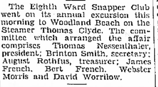 Brinton C Smith - 15 Aug 1936 - The Eighth Ward Snapper Club went on Its annual...
