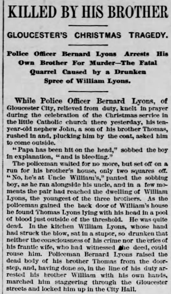 Dec. 26, 1884 - KILLED BY HIS BROTHER GLOUCESTER'S CHRISTMAS...