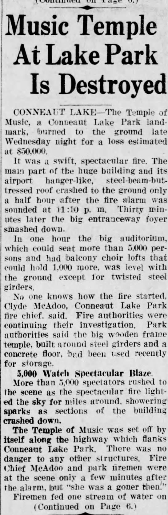News Herald 6/6/1946 Clyde McAdoo Pt1 - Music Temple At Lake Park Is Destroyed COXXEAUT...