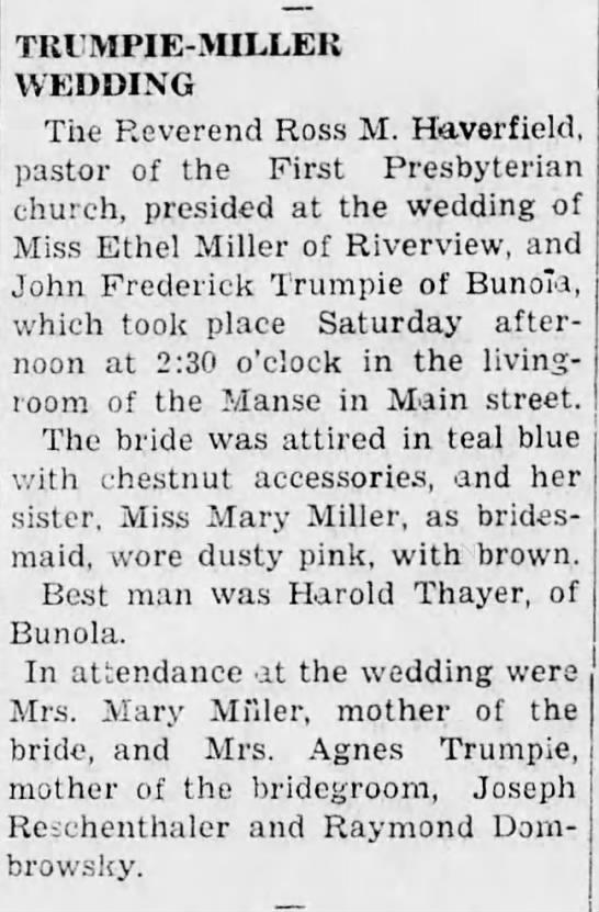 Ethel Miller/John Frederick Trumpie - TRIMPIE-MILLEK TRIMPIE-MILLEK TRIMPIE-MILLEK...