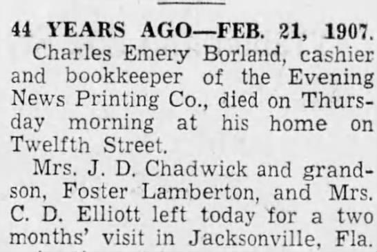 FosterLambertonJrVisitingFloridaWithGrandmother - 44 YEARS AGO FEB. 21, 1907. Charles Emery...