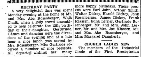 gertrude rosenberger party 1928 - BIRTHDAY PART* A very delightful time was spent...