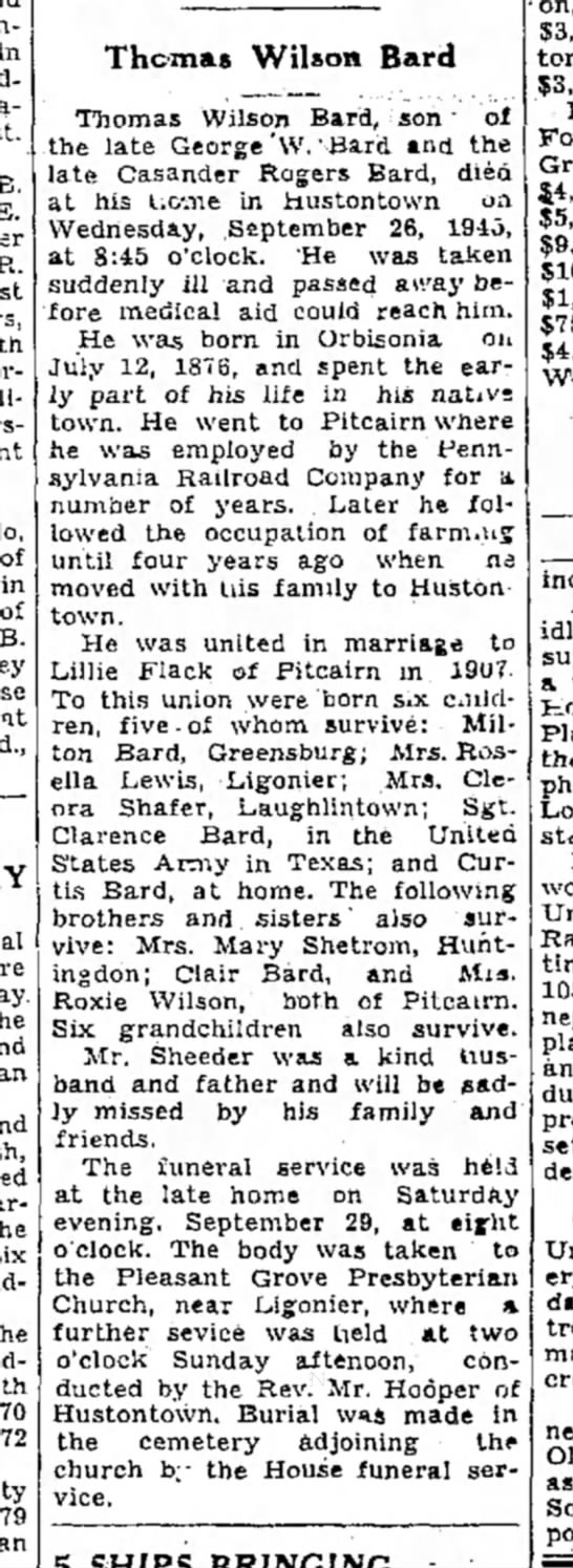 Thomas Wilson Bard-Obit-p.4-TDN-2 Oct 1945 - in B. E. of in of B. at an Thomas Wilson Bard...