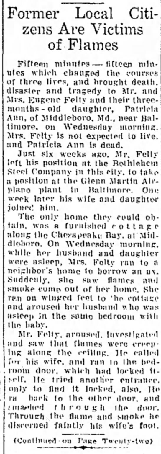Patricia Felty death - Former Local Citizens Are Victims of Flames...