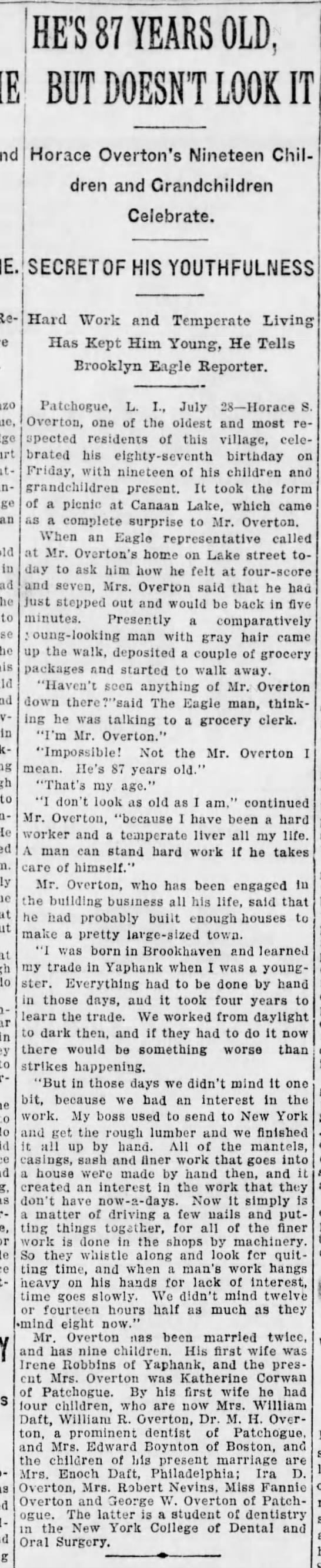 Horace Overton Article, Brooklyn Daily Eagle, 1913 - attempted an ,, d in he to be in to coun-Thi He...