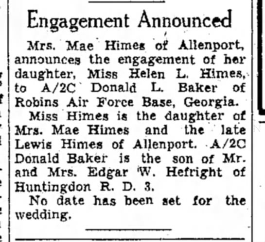 Helen L. Himes engagement-TDN-p.8-4 Oct 1955 - Engagement Announced Mrs. Mae Himeg of...