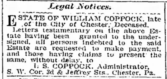 william coppock estate 1903