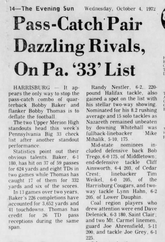 Lynn Hahn - Lower Dauphin football - 14—The Evening Sun Wednesday, October 4, 1972...