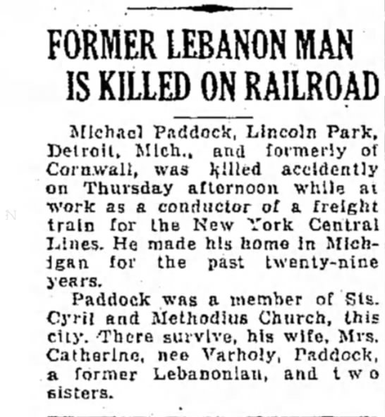 - FORMER LEBANON MAN IS KILLED ON RAILROAD...