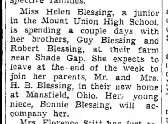 Bonnie & Helen Blessing go to Ohio by train-TDN-page 2-28 May 1948 - Miss Helen Blessing, a junior in the Mount...