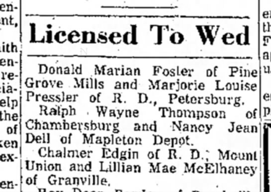 License to Wed: Chalmer Edgin-Lillian Mae McElhaney-TDN-p.5-10 Oct 1961 - ' the of extended Licensed To Wed Donald Marian...