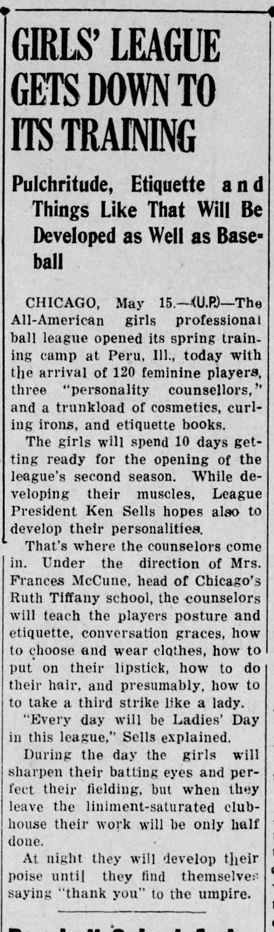 All-American Girls Professional Ball League spring training includes grooming and etiquette classes - GIRLS' LEAGUE GETS DOWN TO ITS TRAINING...