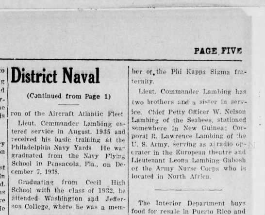 July 21, 1944 Daily Notes Canonsburg PA - PAGE. FIVE is in District Naval (Continued from...