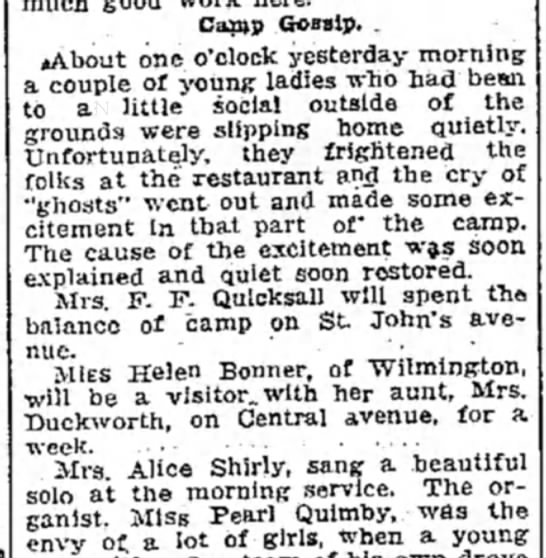 Delaware County Times, Chester PA, 04 Aug 1911 Page 4 - Camp Gossip. . aAbout one o'clock yesterday...