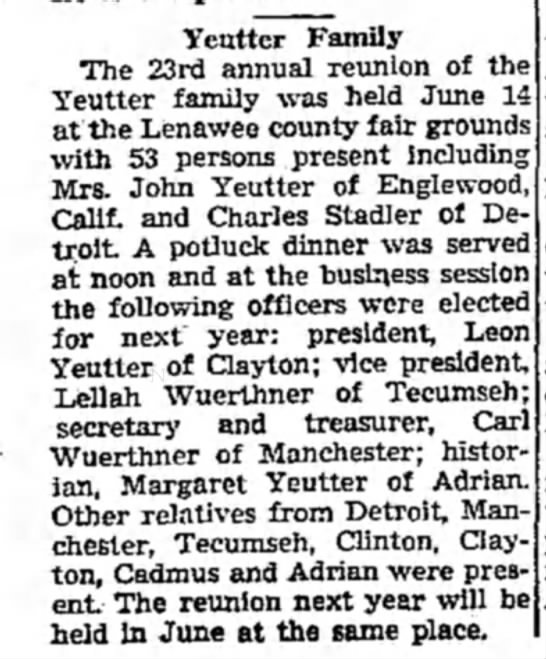 Margaret (Yeutter) Jamir - Yeutter Family The 23rd annual reunion of the...