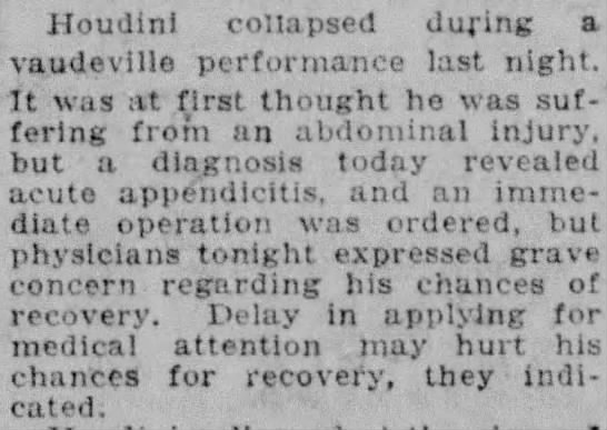 Details of Houdini's Collapse - Houdini collapsed duping a vaudeville...