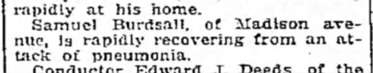 Samuel Burdsall recovering - rapidly at his home. Samuel Burdsall, of...