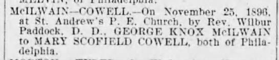 George Knox McIlwain marriage to Mary Scofield Cowell 11/25/1896 - McILWAIN-COWELL.-On McILWAIN-COWELL.-On...