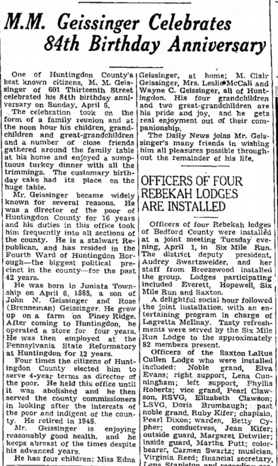 April 8, 1952; Daily News - MM. Geissinger Celebrates 84th Birthday...