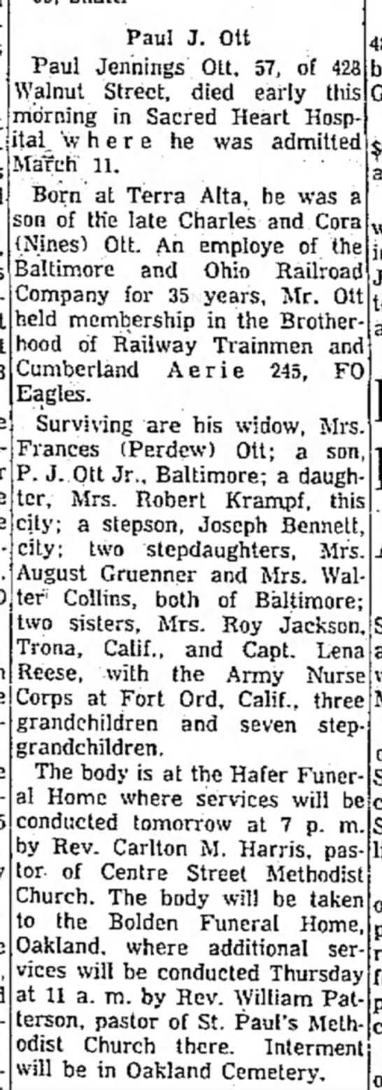 Obituary of Paul Jennings Ott second husband of Frances Perdew