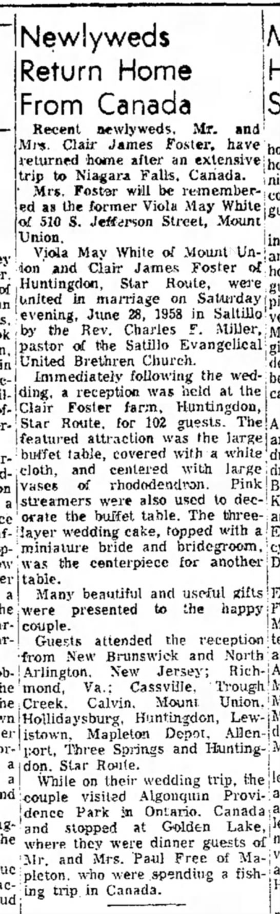 Clair James Foster-newlywed-TDN-p.12-23 Jul 1958 - Newlyweds Return Home From Canada Recent...