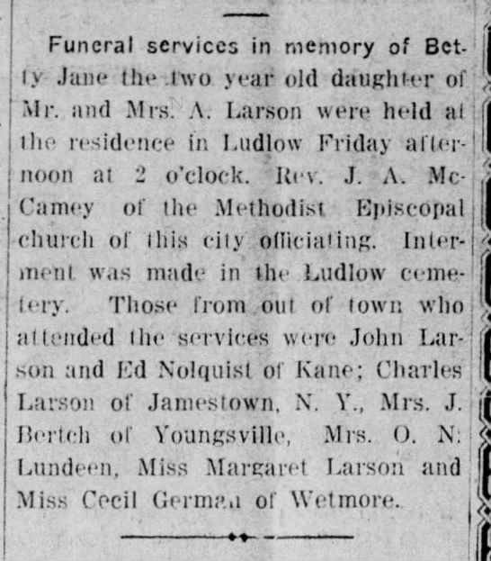 Betty Jane Larson Obituary - Funeral services in memory of Bet- Bet- I V...