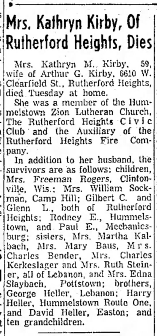 - Mrs. Kathryn Kirby, Of Rutherford Heights, Dies...