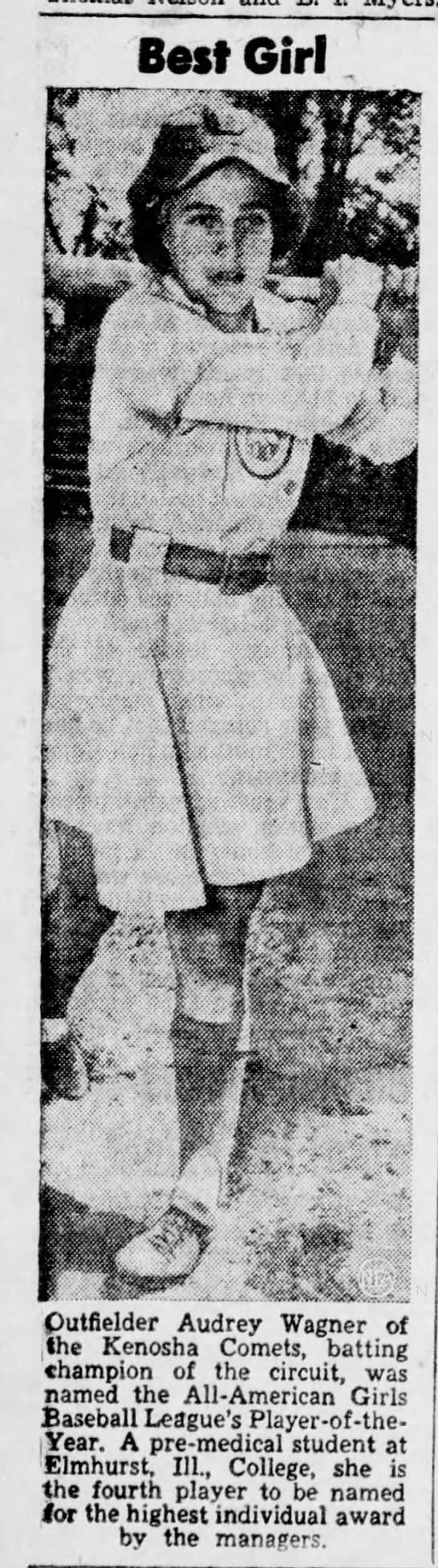 Audrey Wagner named Player of the Year in All-American Girls Baseball League, 1948