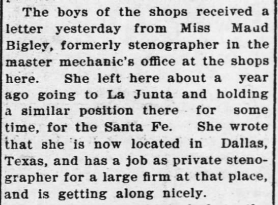 April 1910 - The boys of the shops received a letter...