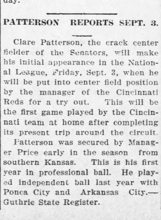 1909 - PATTERSON REPORTS SEPT. 3. Clare Patterson, the...