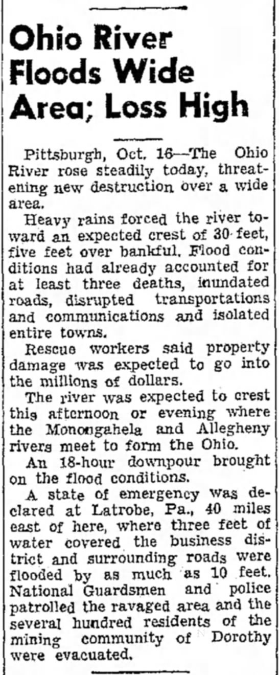 Dorothy Patch Flood 15 Oct 1954 - Ohio River Floods Wide Area; Loss High...