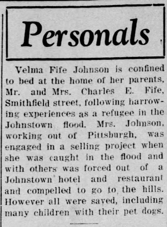 G-Aunt Velma - Personals Velma Fife Johnson is confined to bed...