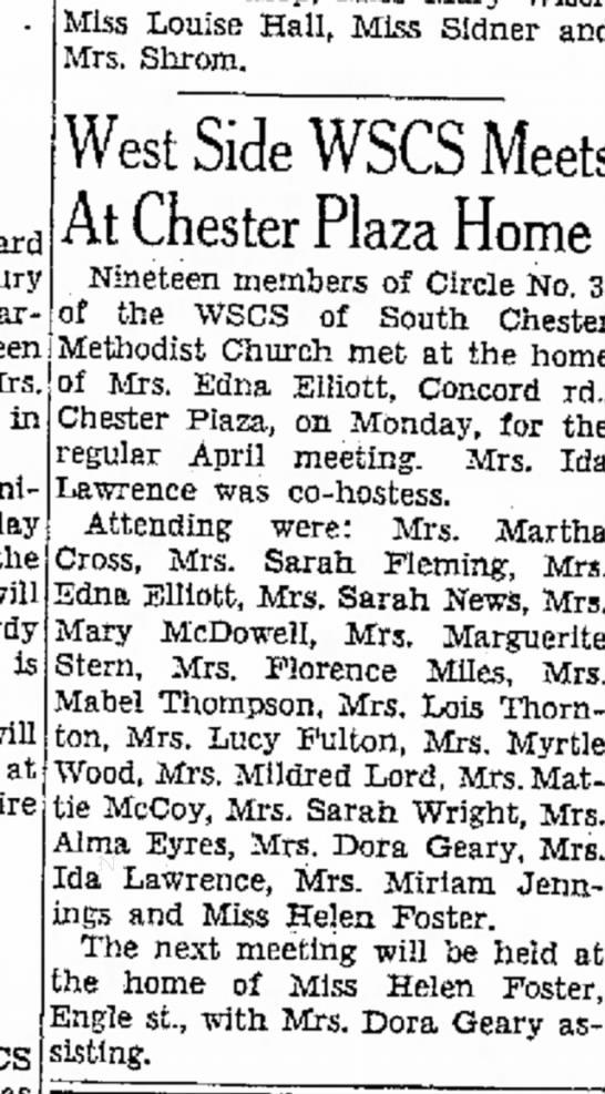 1950 WSCS Methodist Church meeting at Edna Elliott's home