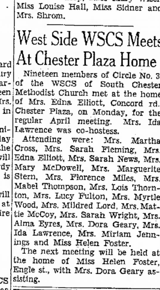 1950 WSCS Methodist Church meeting at Edna Elliott's home - in - the! will is will at: Miss Louise Hall,...