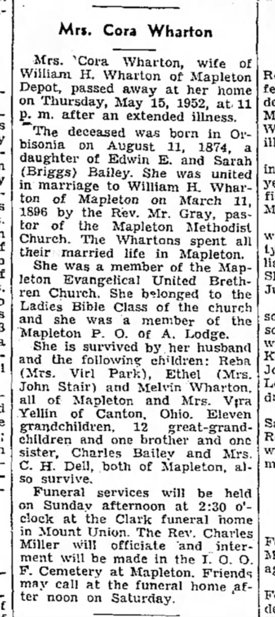 Cora Bailey Wharton-obit-p.9-16 May 1952