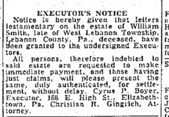 - EXECUTOR'S NOTICE Notice is hereby given that...