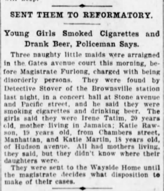 Mortimer Stover  Brklyn Eagle Nov 20.1903 - 8ENT THEM TO REFORMATORY. Young Girls Smoked...