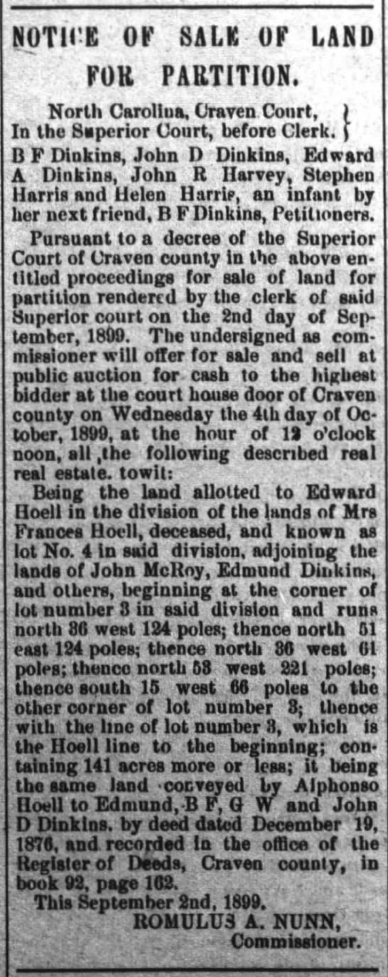 Partition Sale of Frances Hoell Estate 1899.  - NOTH'E Or SALE Or LAND FOB PARTITION. : North...