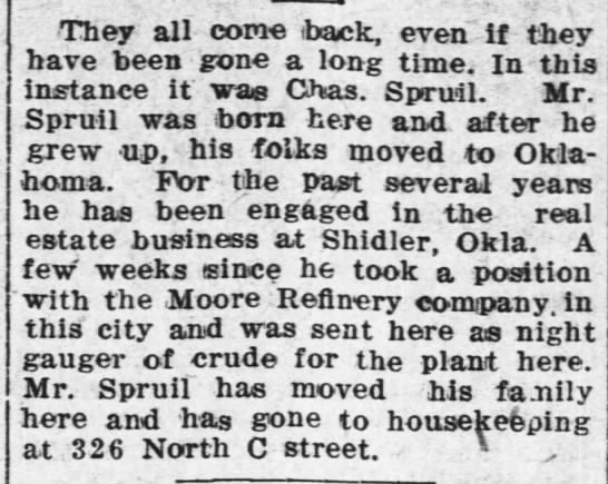 Chas Spruil 1922 Arkansas City KS - They all come iback, even if they have been...