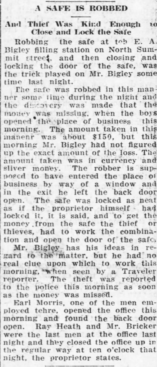 Ark City paper Sept. 17, 1921 - A SAFE IS ROBBED And to Thief Was .Kind...